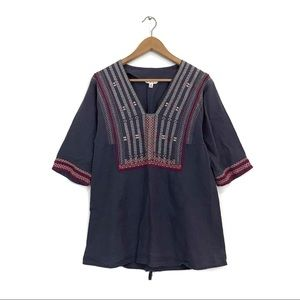 CAbi Boho Vintage Embroidered Blue Linen Tunic Top
